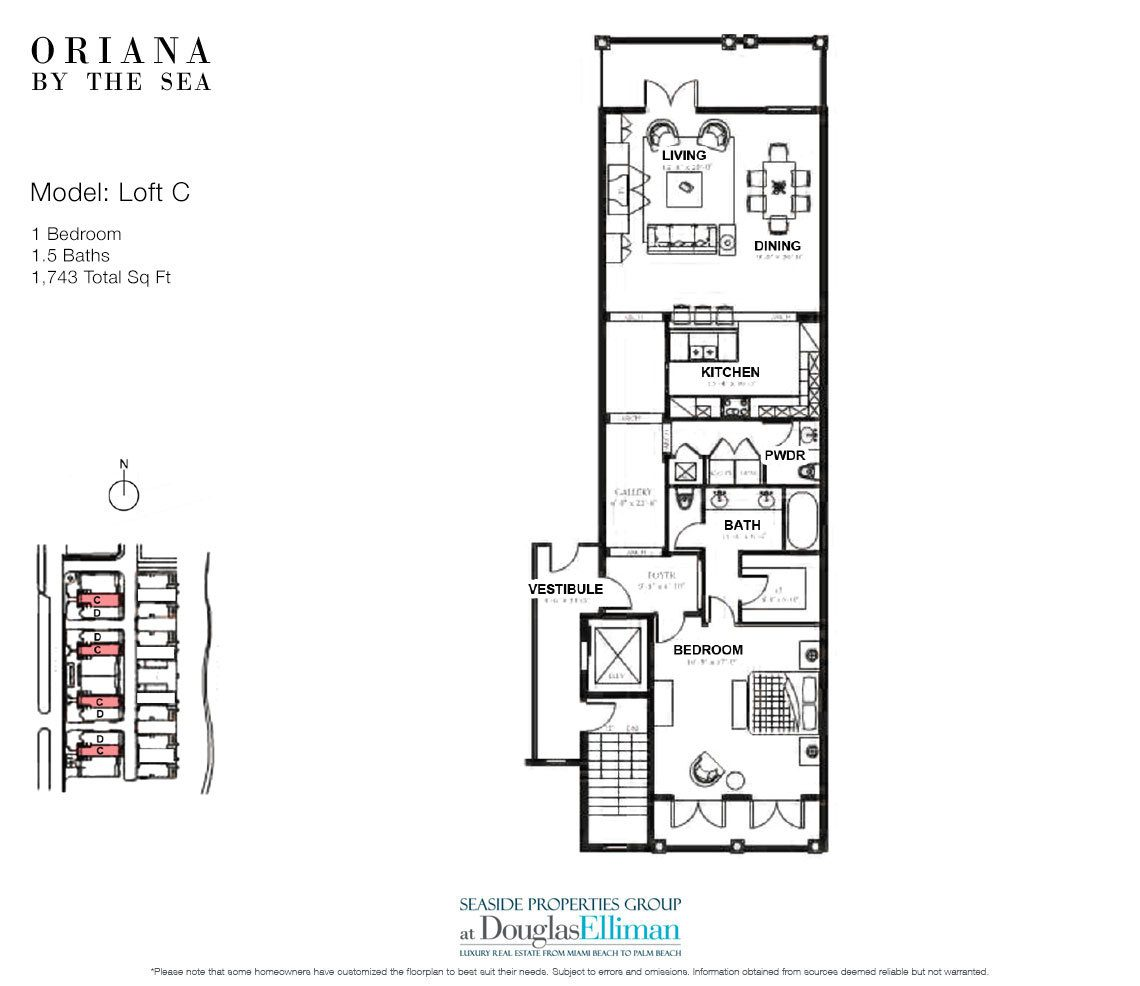 The Loft C Floorplan at Oriana by the Sea, Luxury Oceanfront Condos in Lauderdale-by-the-Sea, Florida 33308