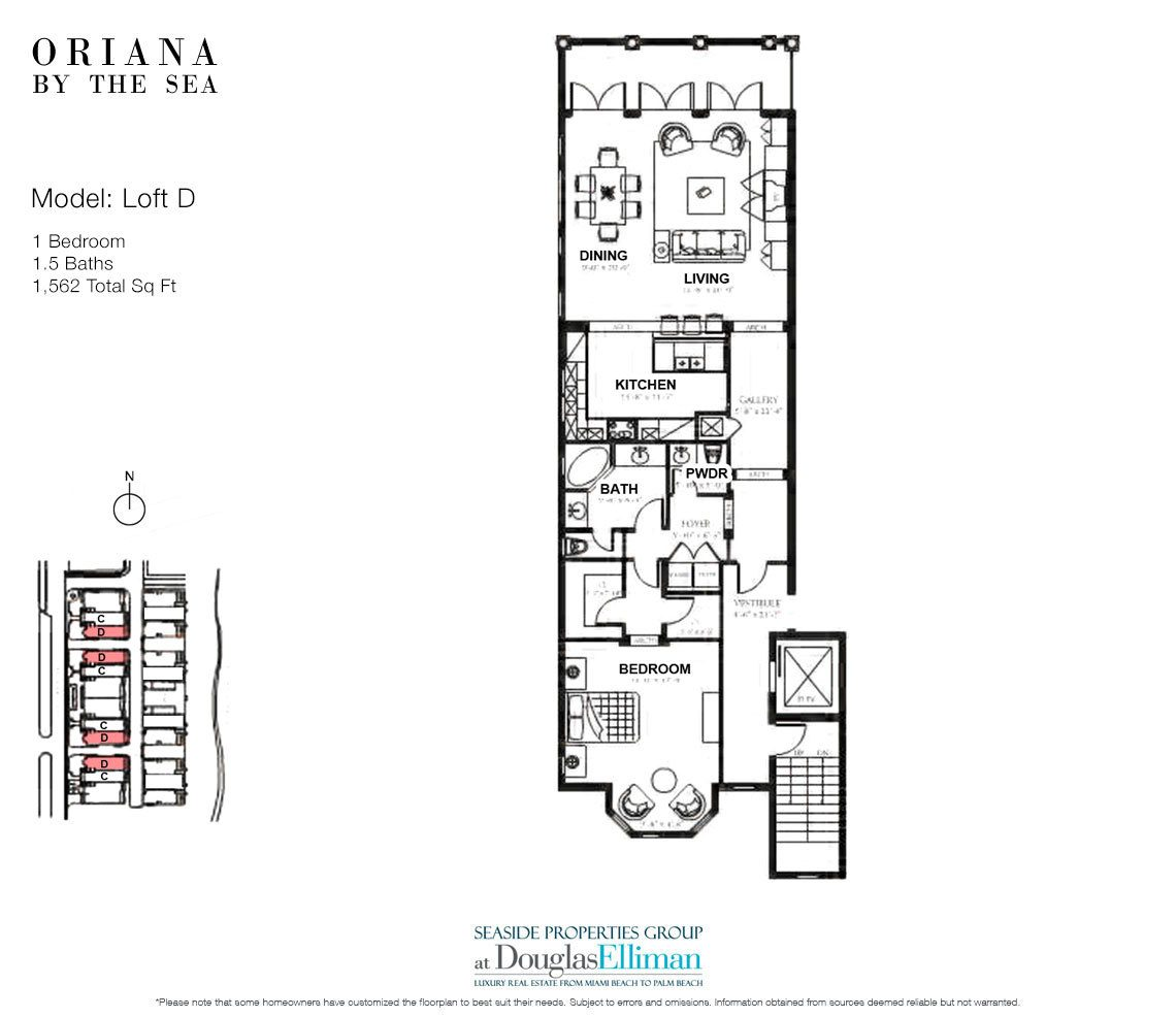 The Loft D Floorplan at Oriana by the Sea, Luxury Oceanfront Condos in Lauderdale-by-the-Sea, Florida 33308