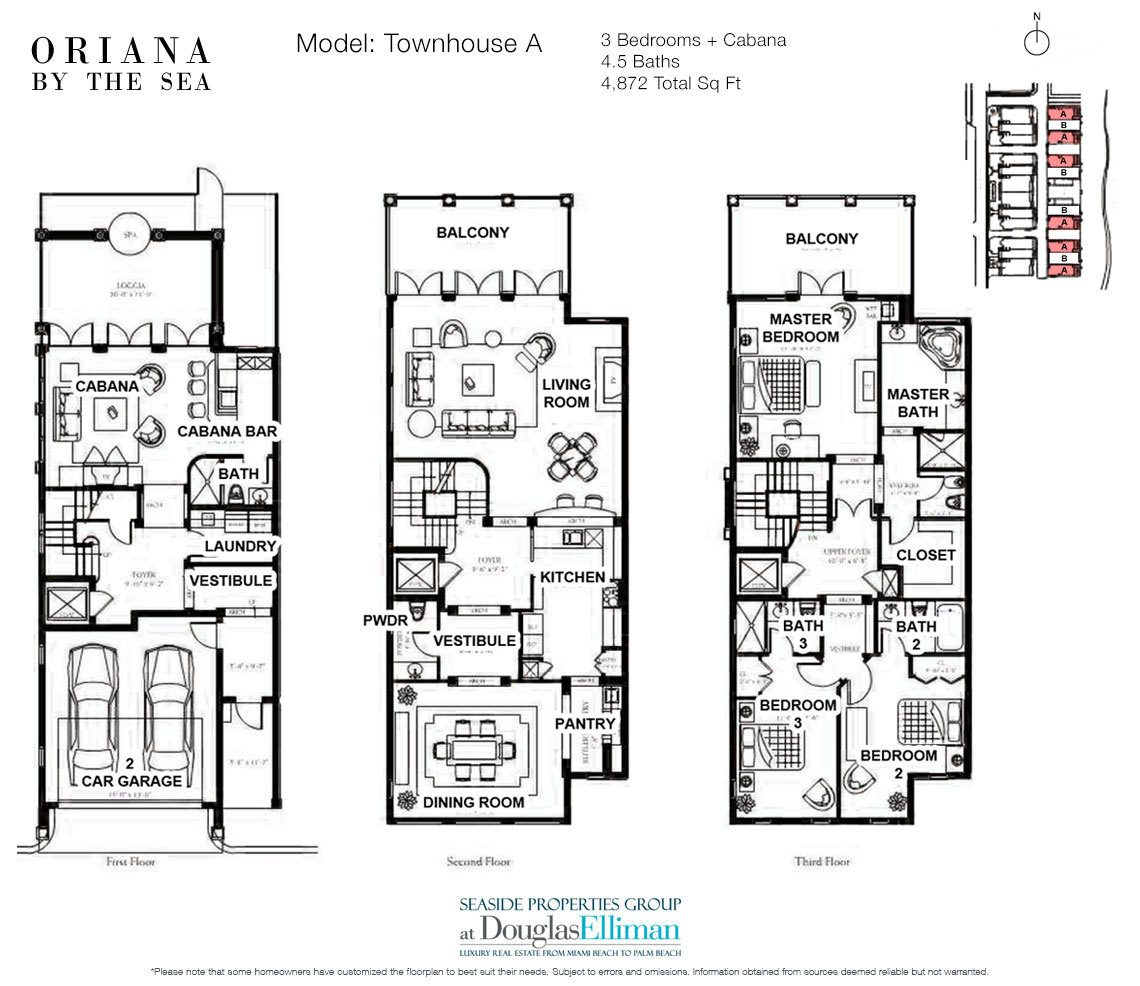 The Townhouse A Floorplan at Oriana by the Sea, Luxury Oceanfront Condos in Lauderdale-by-the-Sea, Florida 33308