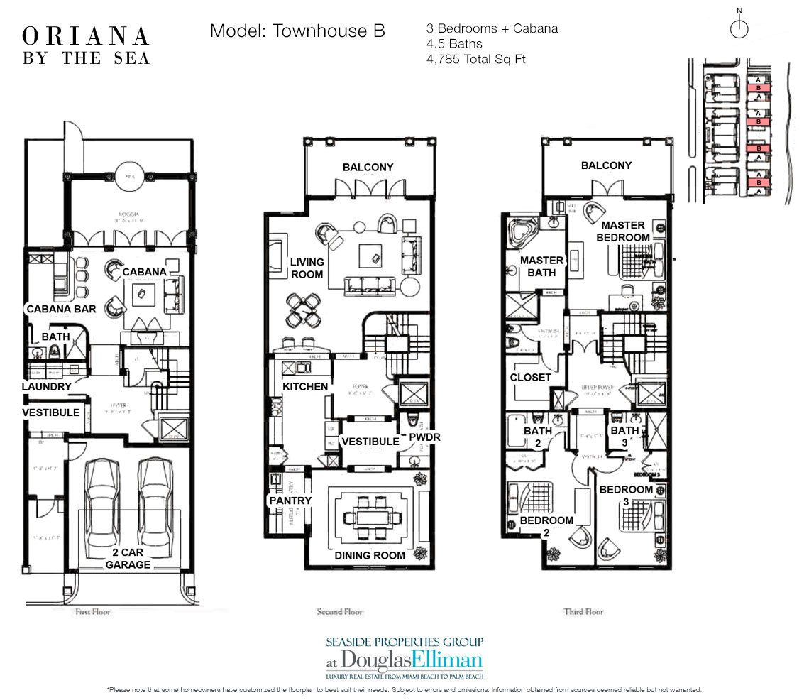 The Townhouse B Floorplan at Oriana by the Sea, Luxury Oceanfront Condos in Lauderdale-by-the-Sea, Florida 33308