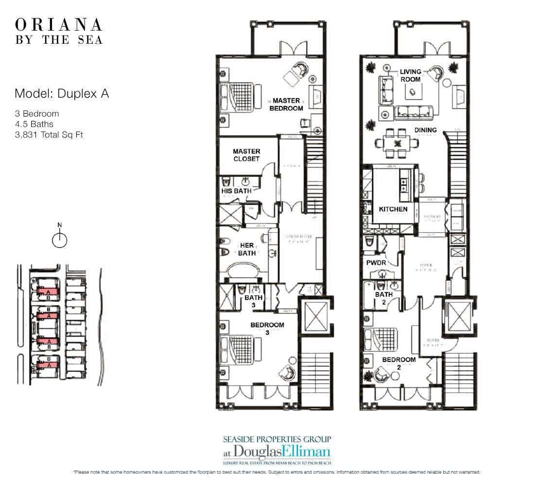 The Duplex A Floorplan at Oriana by the Sea, Luxury Oceanfront Condos in Lauderdale-by-the-Sea, Florida 33308