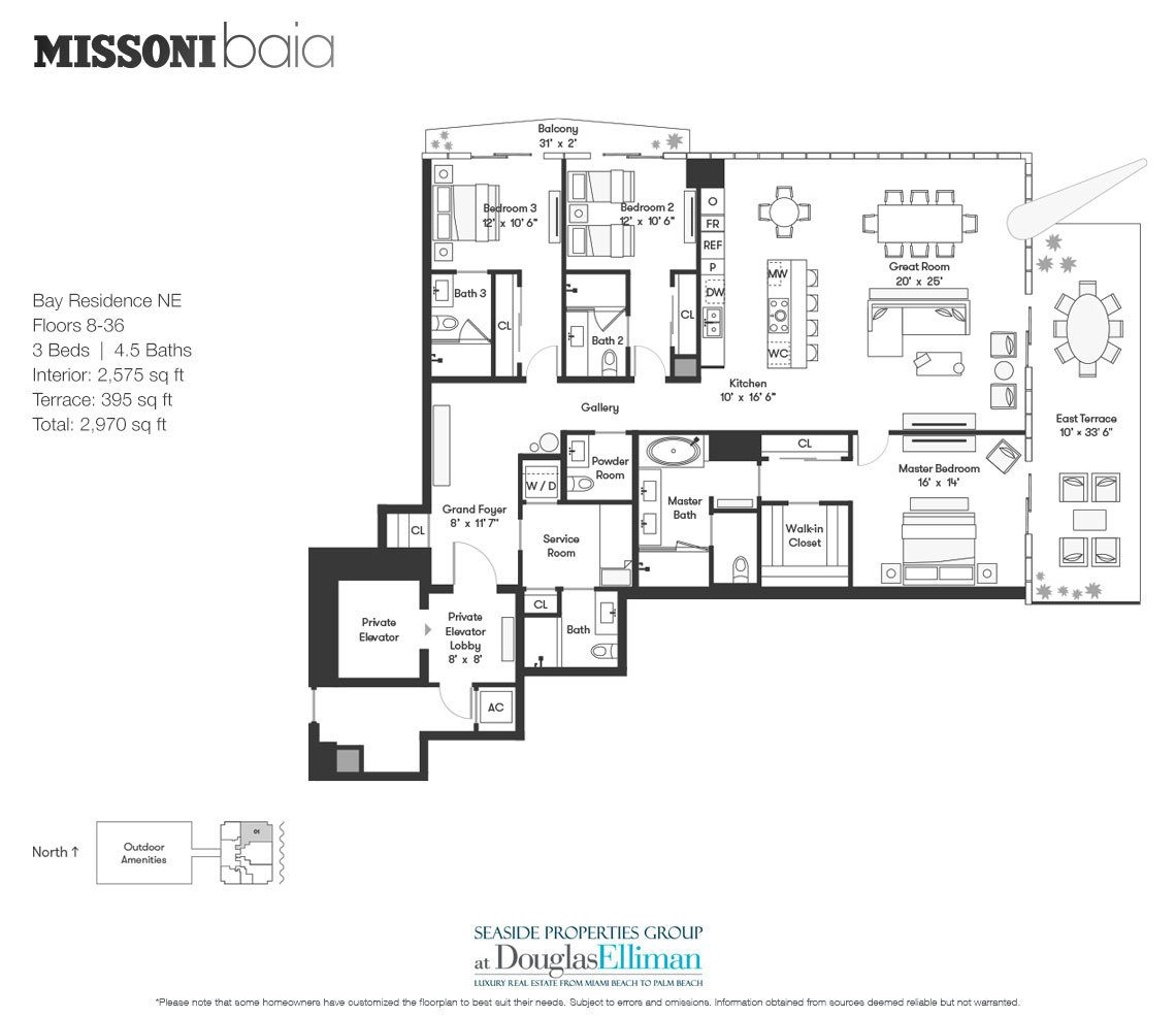 The Bay Residence NE Floorplan at Missoni Baia, Luxury Waterfront Condos in Miami, Florida 33137.