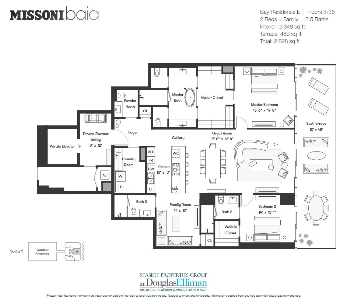 The Bay Residence E Floorplan at Missoni Baia, Luxury Waterfront Condos in Miami, Florida 33137.