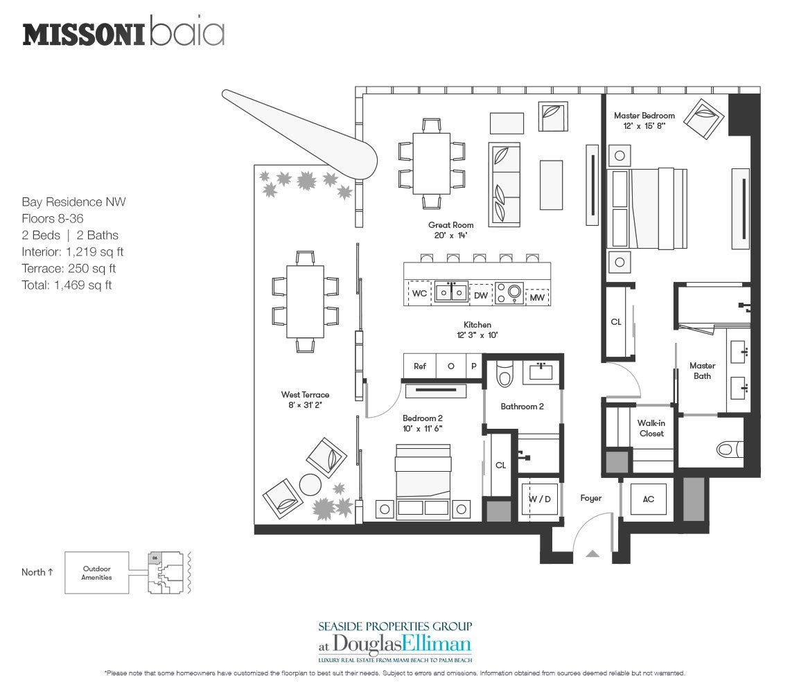The Bay Residence NW Floorplan at Missoni Baia, Luxury Waterfront Condos in Miami, Florida 33137.