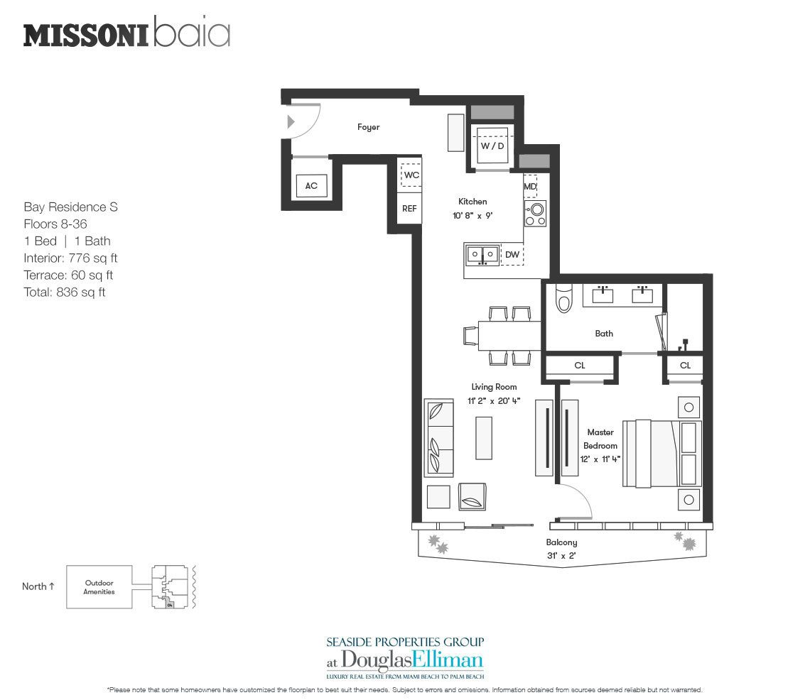 The Bay Residence S Floorplan at Missoni Baia, Luxury Waterfront Condos in Miami, Florida 33137.