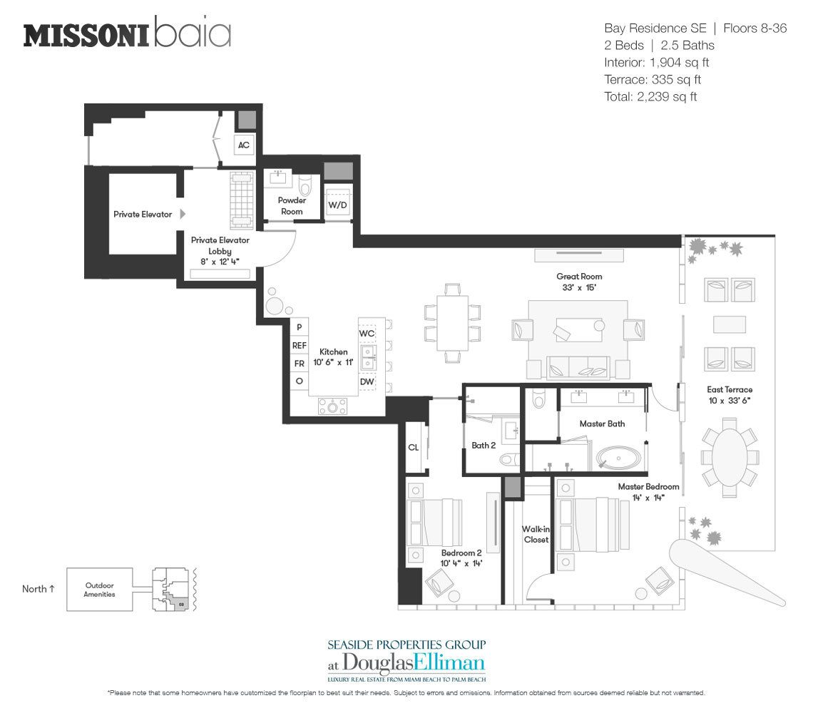 The Bay Residence SE Floorplan at Missoni Baia, Luxury Waterfront Condos in Miami, Florida 33137.