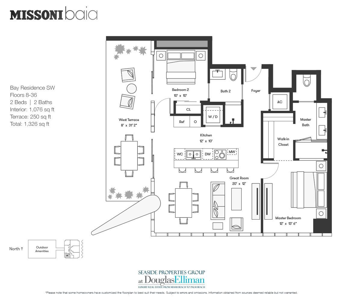 The Bay Residence SW Floorplan at Missoni Baia, Luxury Waterfront Condos in Miami, Florida 33137.