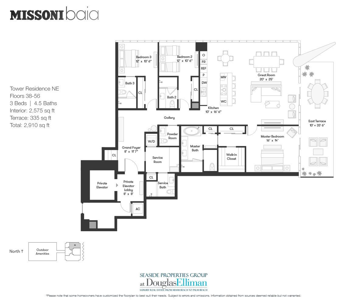 The Tower Residence NE Floorplan at Missoni Baia, Luxury Waterfront Condos in Miami, Florida 33137.