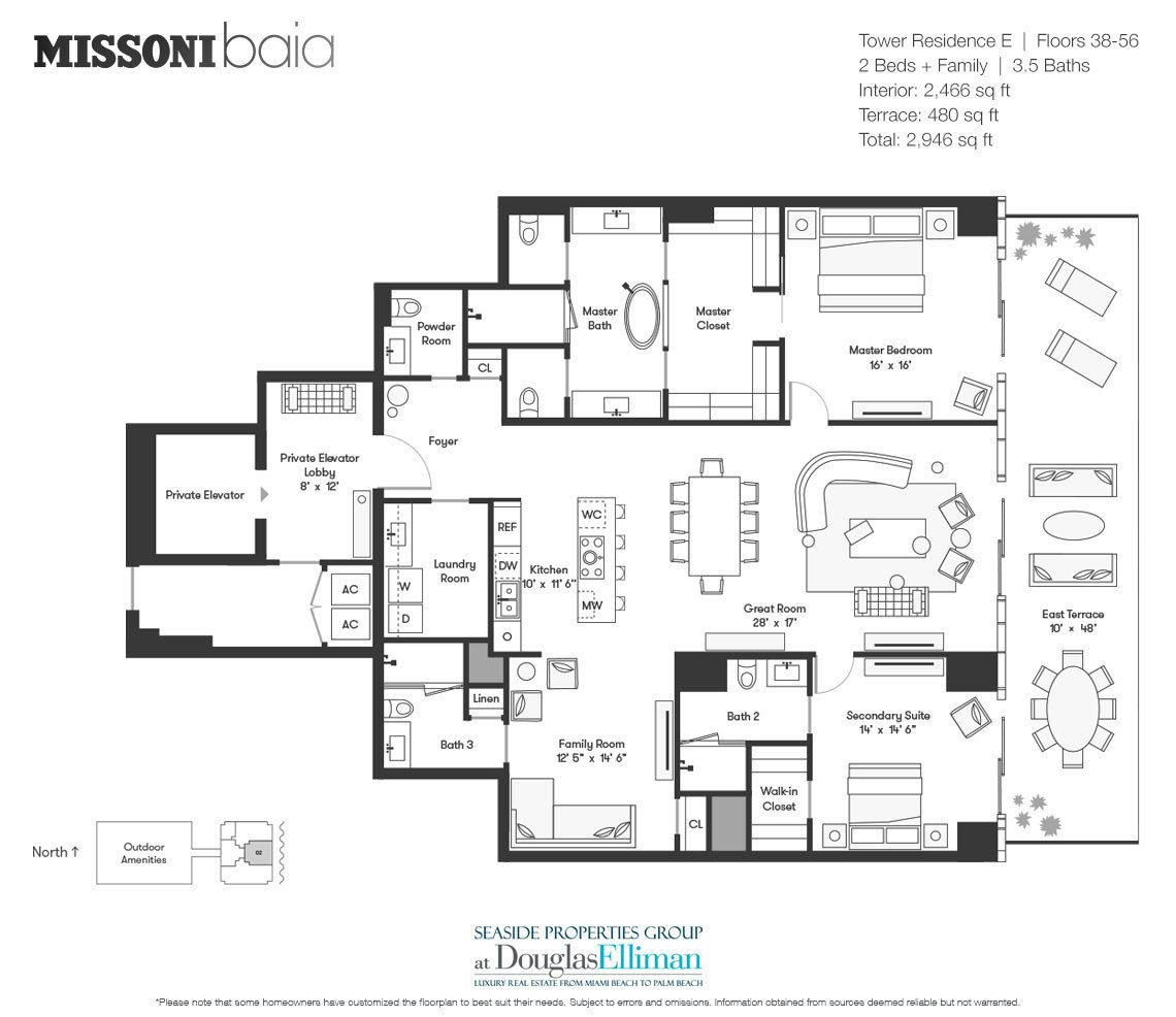 The Tower Residence E Floorplan at Missoni Baia, Luxury Waterfront Condos in Miami, Florida 33137.