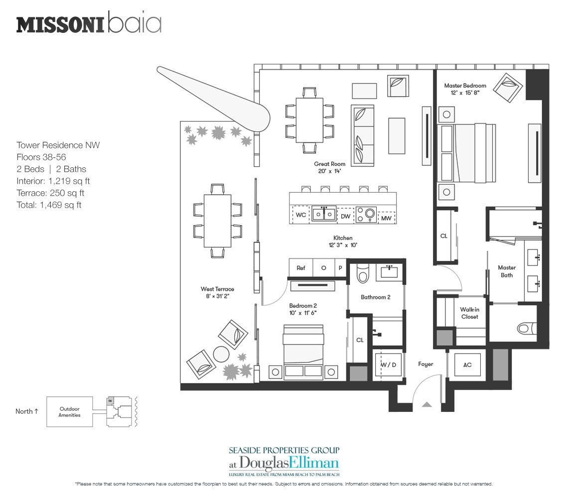 The Tower Residence NW Floorplan at Missoni Baia, Luxury Waterfront Condos in Miami, Florida 33137.