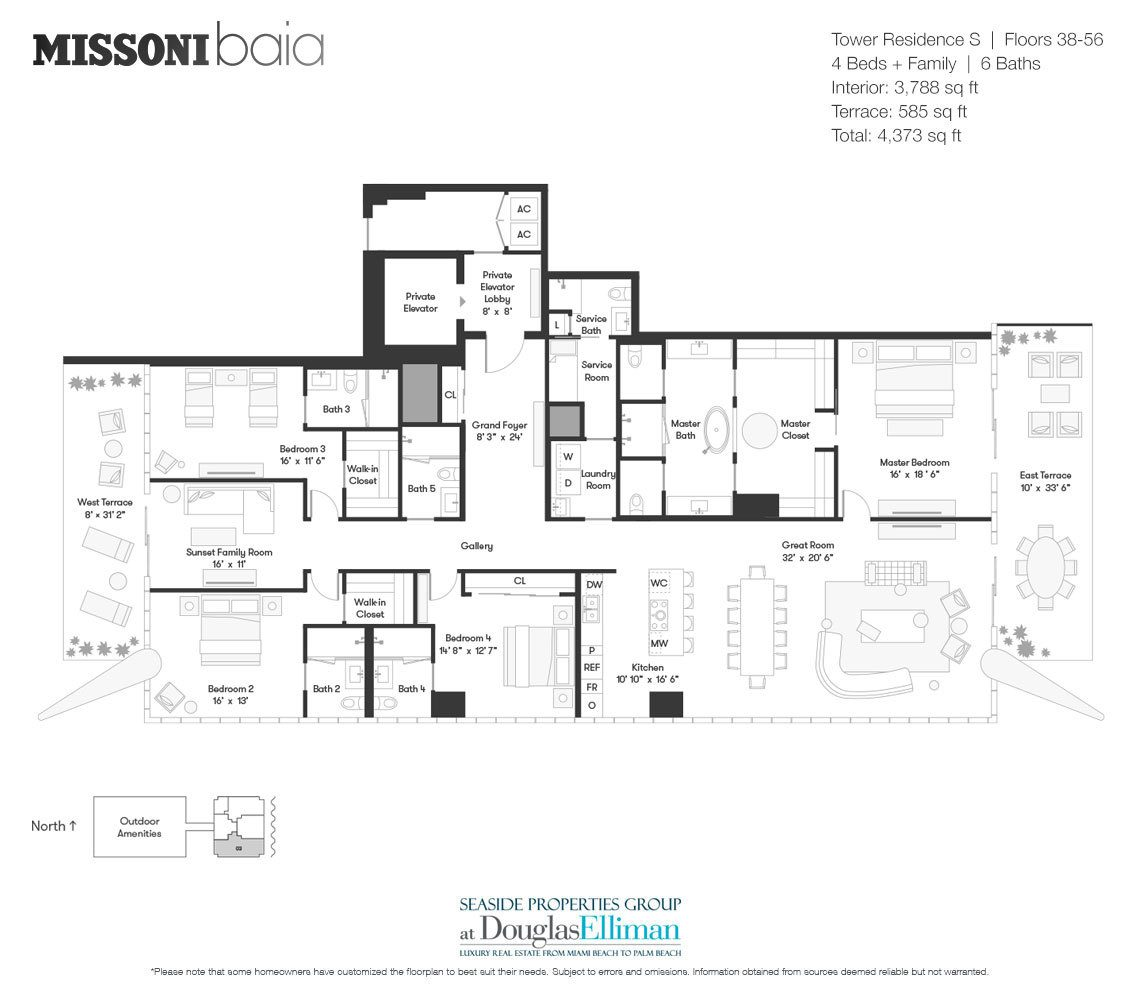 The Tower Residence S Floorplan at Missoni Baia, Luxury Waterfront Condos in Miami, Florida 33137.