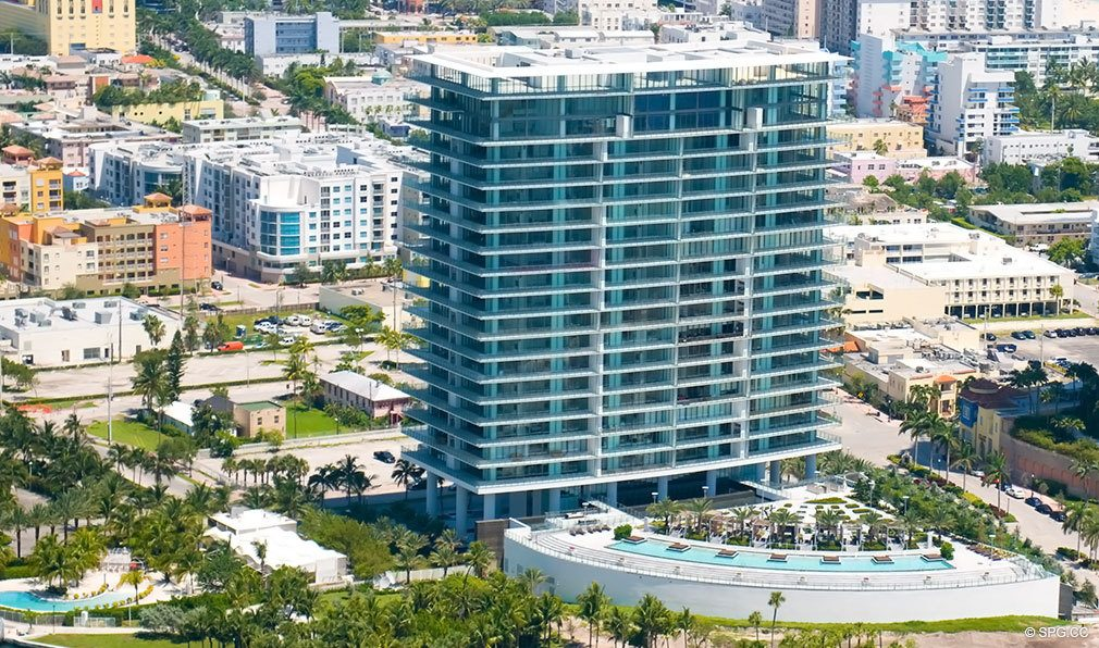View of Apogee South Beach, Luxury Waterfront Condominiums Located at 800 South Pointe Dr, Miami Beach, FL 33139