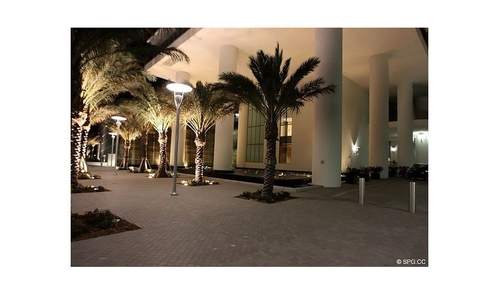 Entrance to Apogee South Beach, Luxury Waterfront Condominiums Located at 800 South Pointe Dr, Miami Beach, FL 33139