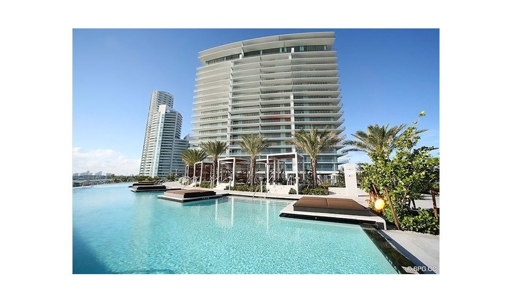 Modern Pool Deck at Apogee South Beach, Luxury Waterfront Condominiums Located at 800 South Pointe Dr, Miami Beach, FL 33139