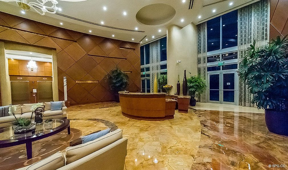 Lobby at Aquazul, Luxury Oceanfront Condominiums Located at 1600 South Ocean Boulevard, Lauderdale-by-the-Sea, FL 33062