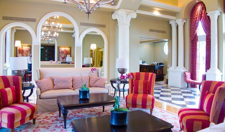 Elegant Lobby at Bellaria, Luxury Oceanfront Condominiums Located at 3000 South Ocean Blvd, Palm Beach, FL 33480