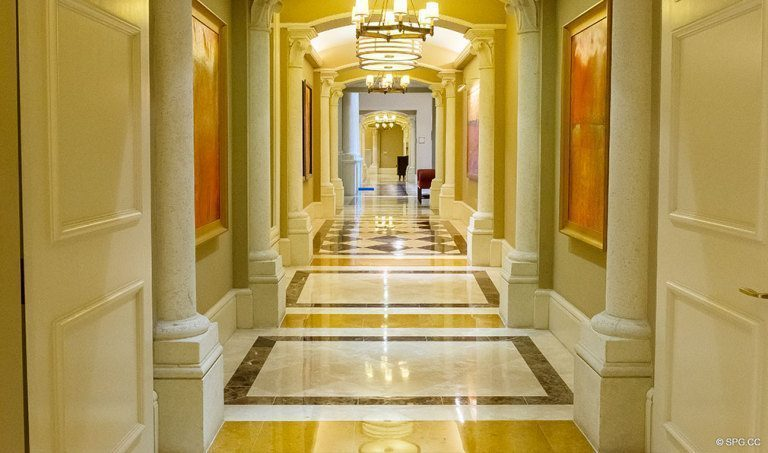 Hallway at Bellaria, Luxury Oceanfront Condominiums Located at 3000 South Ocean Blvd, Palm Beach, FL 33480
