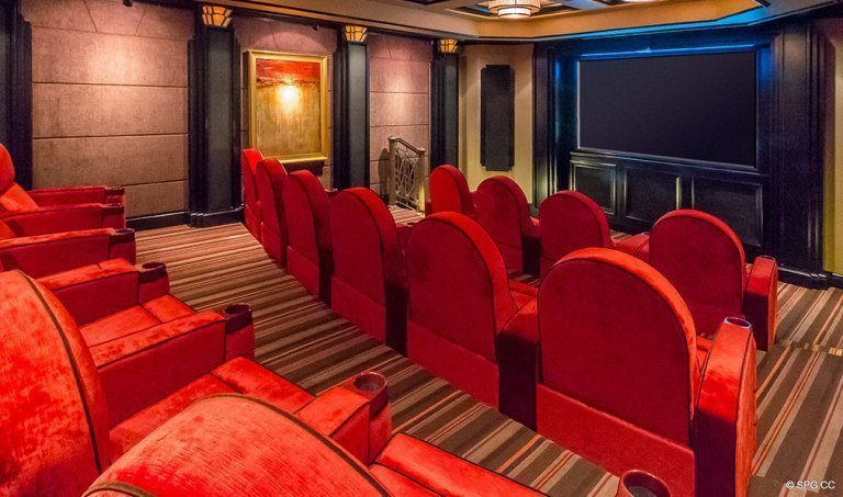 Screening Room at Bellaria, Luxury Oceanfront Condominiums Located at 3000 South Ocean Blvd, Palm Beach, FL 33480