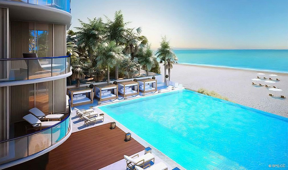 Pool at Chateau Beach Residences, Luxury Oceanfront Condominiums Located at 17475 Collins Ave, Sunny Isles Beach, FL 33160