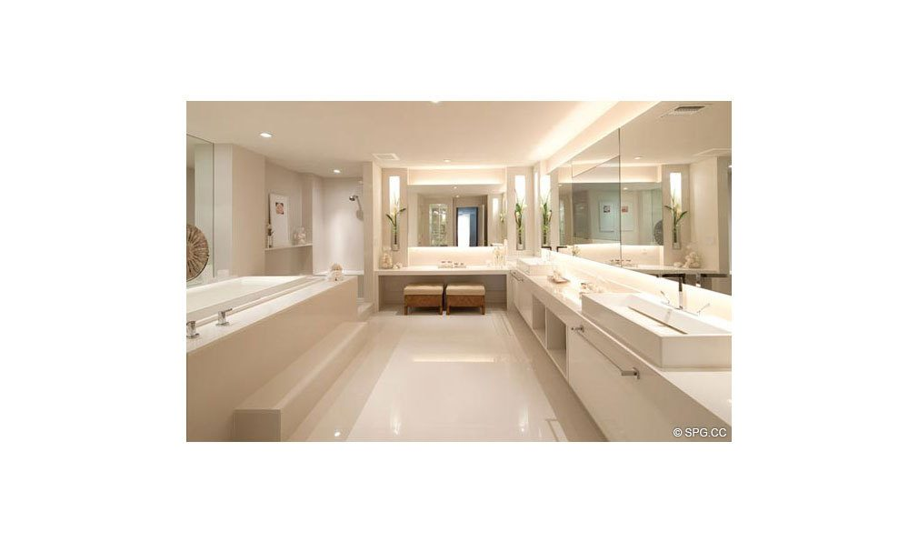 Master Bath at Dolcevita, Luxury Oceanfront Condominiums Located at 155 South Ocean Ave, Singer Island, FL 33404