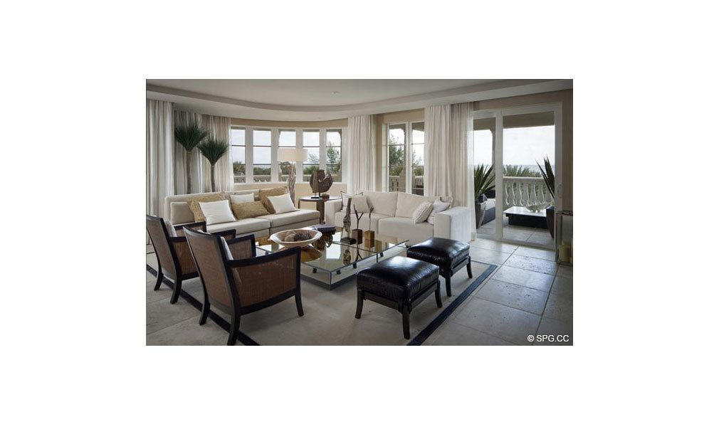 Living Area at Dolcevita, Luxury Oceanfront Condominiums Located at 155 South Ocean Ave, Singer Island, FL 33404