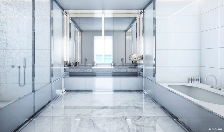 Master Bathroom at Faena House, Luxury Oceanfront Condominiums Located at 3201 Collins Ave, Miami Beach, FL 33140