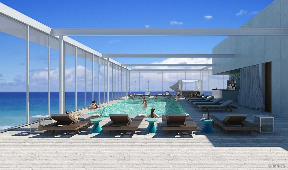 Rooftop Pool at Grove at Grand Bay, Luxury Waterfront Condominiums at 2669 South Bayshore Dr, Miami, FL 33133