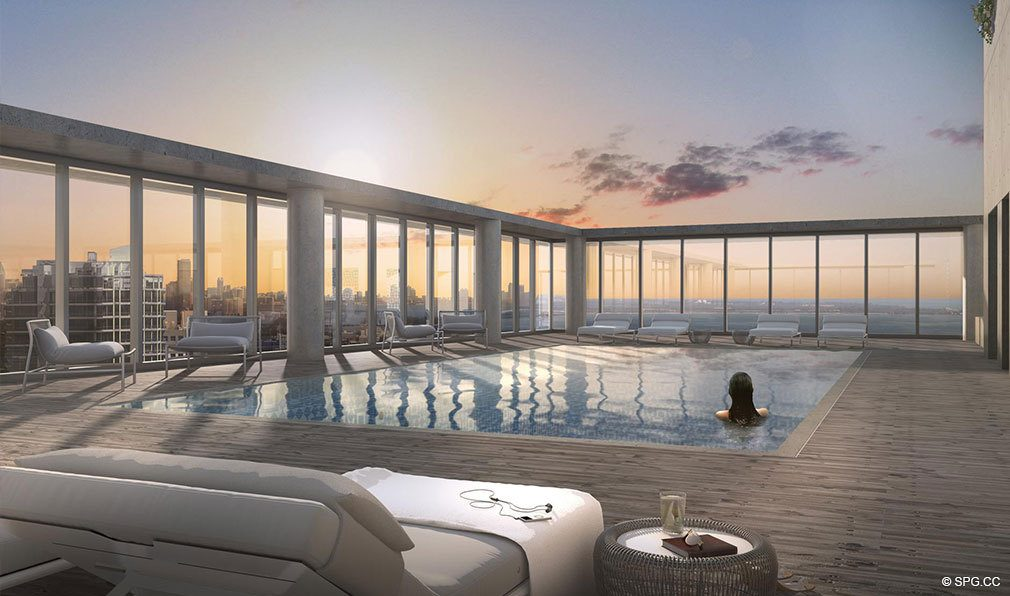 Rooftop Pool Deck at Grove at Grand Bay, Luxury Waterfront Condominiums at 2669 South Bayshore Dr, Miami, FL 33133