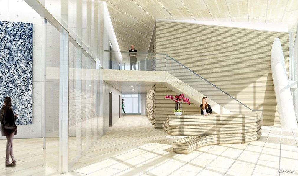 South Tower Lobby at Grove at Grand Bay, Luxury Waterfront Condominiums at 2669 South Bayshore Dr, Miami, FL 33133