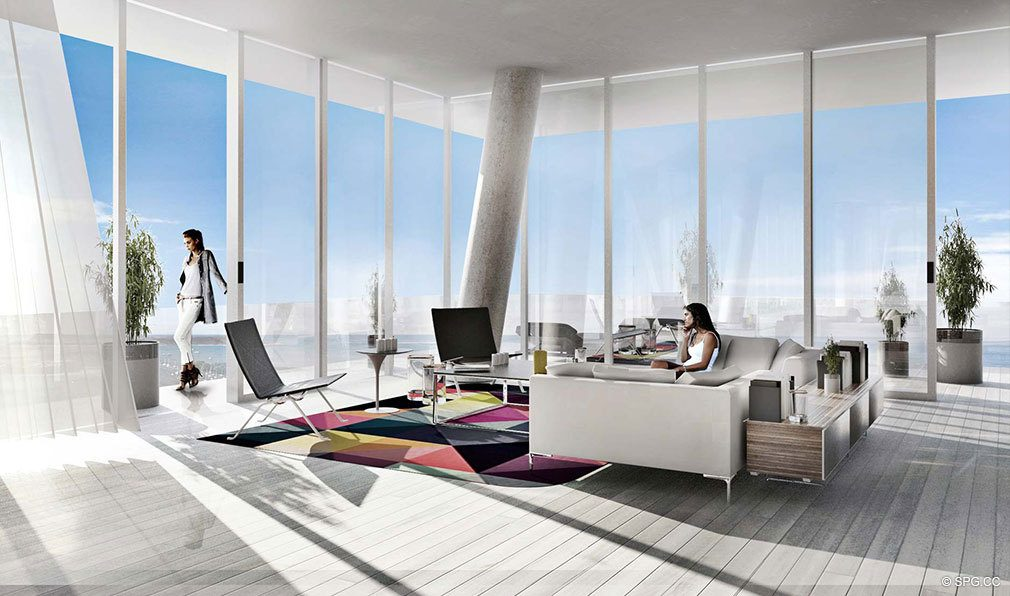 Contemporary Living Area at Grove at Grand Bay, Luxury Waterfront Condominiums at 2669 South Bayshore Dr, Miami, FL 33133