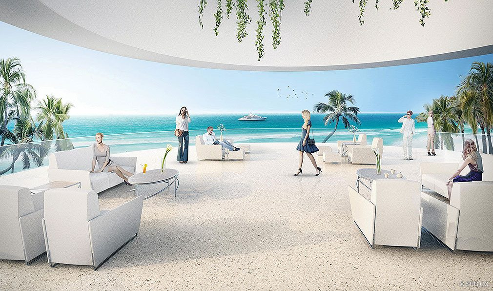 Outside Lounge at Jade Signature, Luxury Oceanfront Condominiums Located at 16901 Collins Ave, Sunny Isles Beach, FL 33160