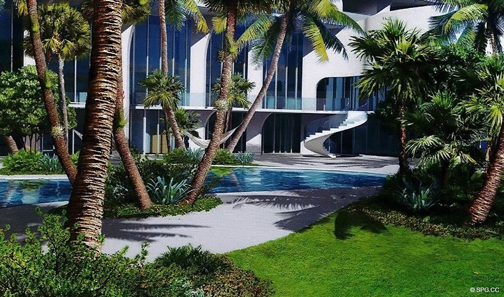 Landscaped Grounds at Jade Signature, Luxury Oceanfront Condominiums Located at 16901 Collins Ave, Sunny Isles Beach, FL 33160