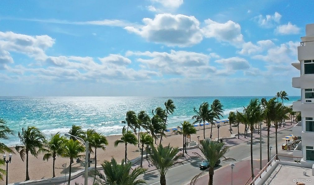 Beach View from Las Olas Beach Club, Luxury Oceanfront Condominiums Located at 101 S Ft Lauderdale Beach Blvd, Ft Lauderdale, Florida 33316