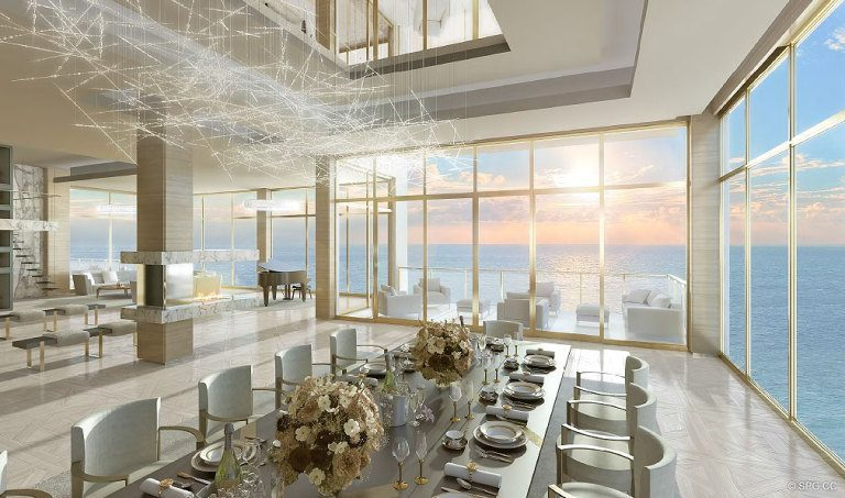 Dining Room at Mansions at Acqualina, Luxury Oceanfront Condominiums Located at 17749 Collins Ave, Sunny Isles Beach, FL 33160