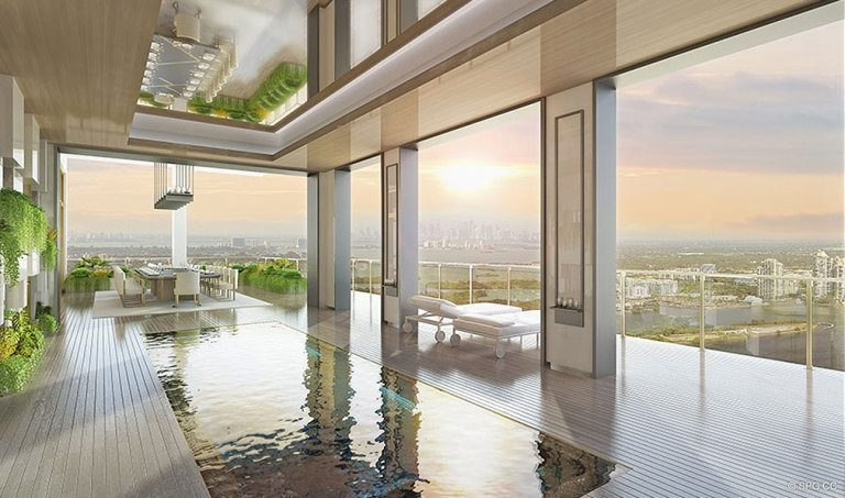 Mansions at Acqualina Terrace Pool, Luxury Oceanfront Condominiums Located at 17749 Collins Ave, Sunny Isles Beach, FL 33160