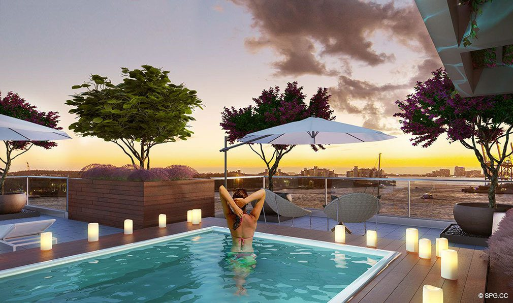 Rooftop Pool at Marea South Beach, Luxury Seaside Condominiums at 801 S Pointe Dr, Miami Beach, FL 33139