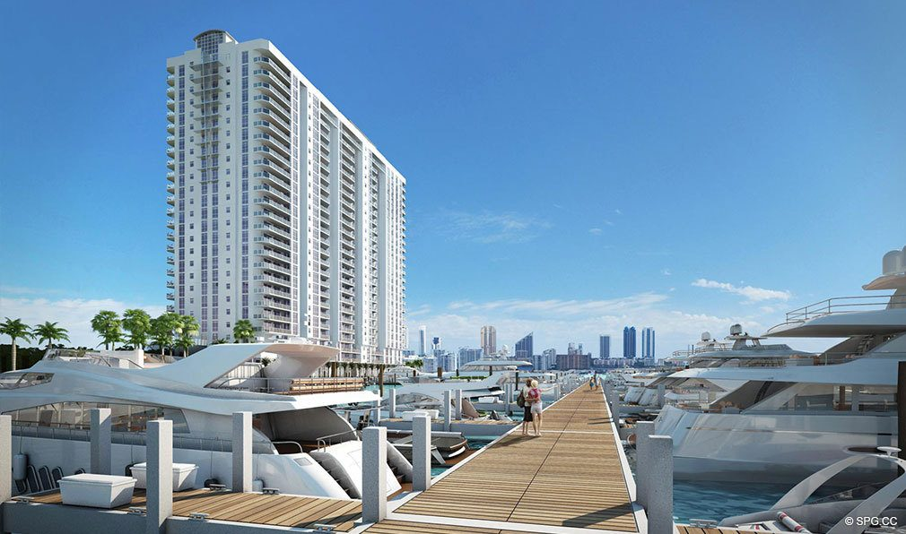 Dockage at Marina Palms Yacht Club, Luxury Waterfront Condominiums Located at 17201 Biscayne Blvd, North Miami Beach, FL 33160