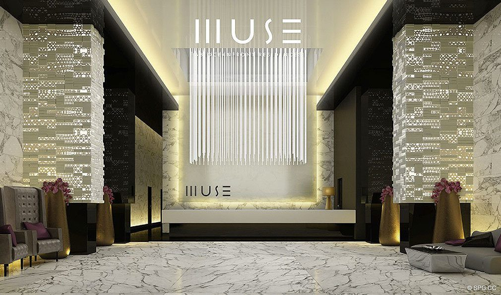 Muse Lobby, Luxury Oceanfront Condominiums Located at 17141 Collins Ave, Sunny Isles Beach, FL 33160