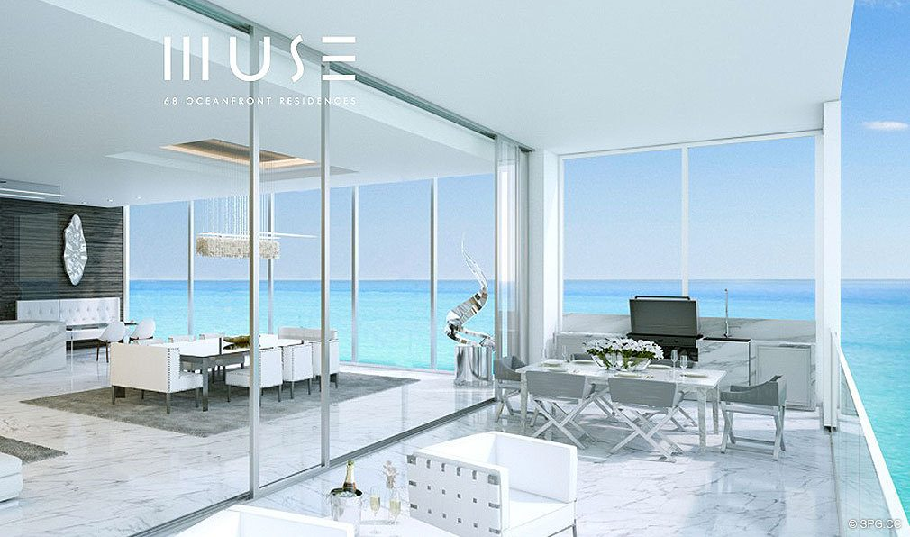 Terrace Views from Muse, Luxury Oceanfront Condominiums Located at 17141 Collins Ave, Sunny Isles Beach, FL 33160