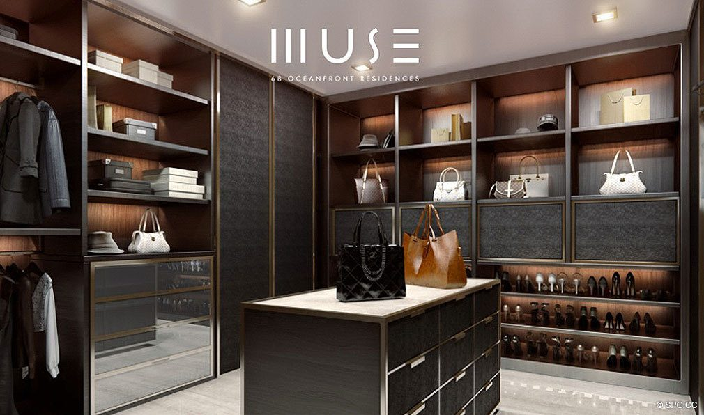 Walk-in Closet at Muse, Luxury Oceanfront Condominiums Located at 17141 Collins Ave, Sunny Isles Beach, FL 33160