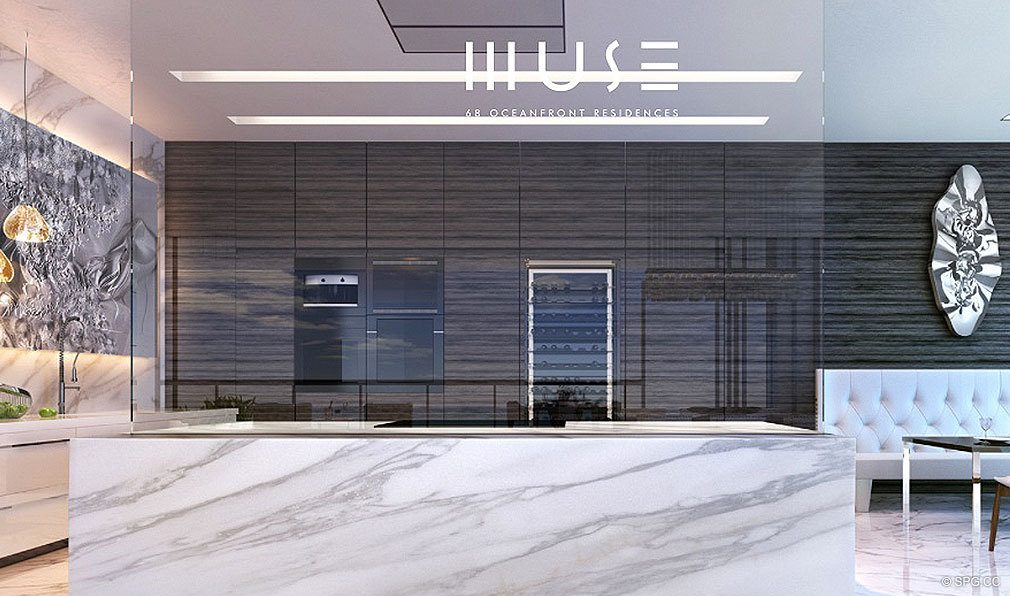 Gourmet Kitchen at Muse, Luxury Oceanfront Condominiums Located at 17141 Collins Ave, Sunny Isles Beach, FL 33160