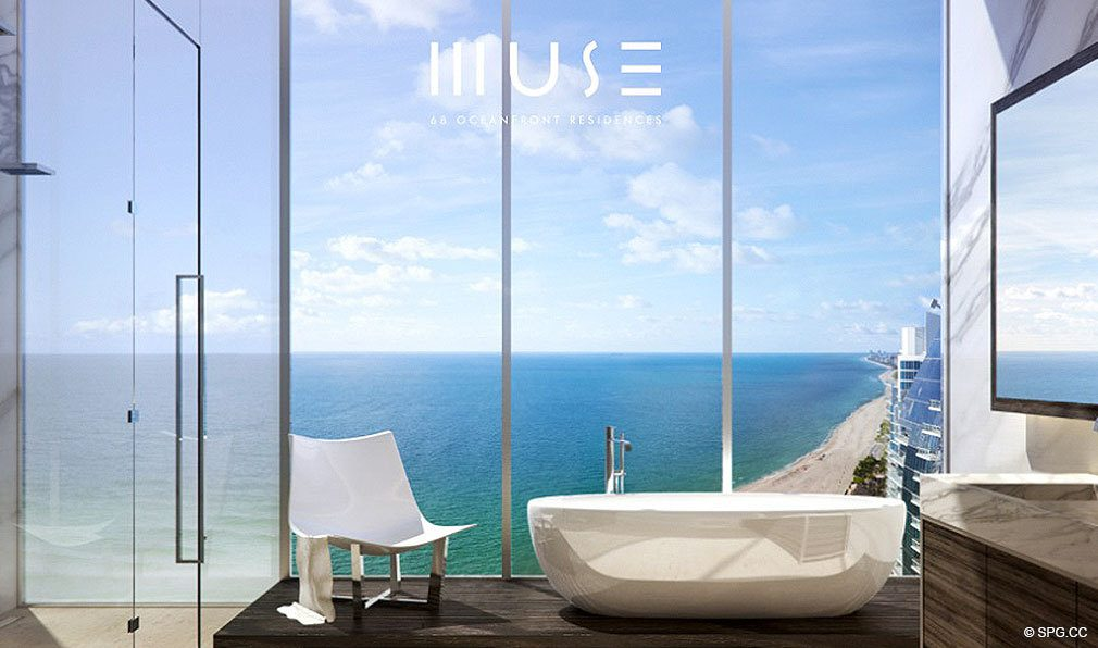 Master Bath at Muse, Luxury Oceanfront Condominiums Located at 17141 Collins Ave, Sunny Isles Beach, FL 33160