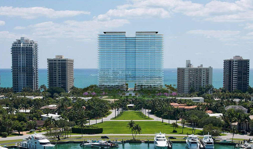 View from Intracoastal of Oceana Bal Harbour, Luxury Oceanfront Condominiums at 10201 Collins Ave, Bal Harbour, FL 33154