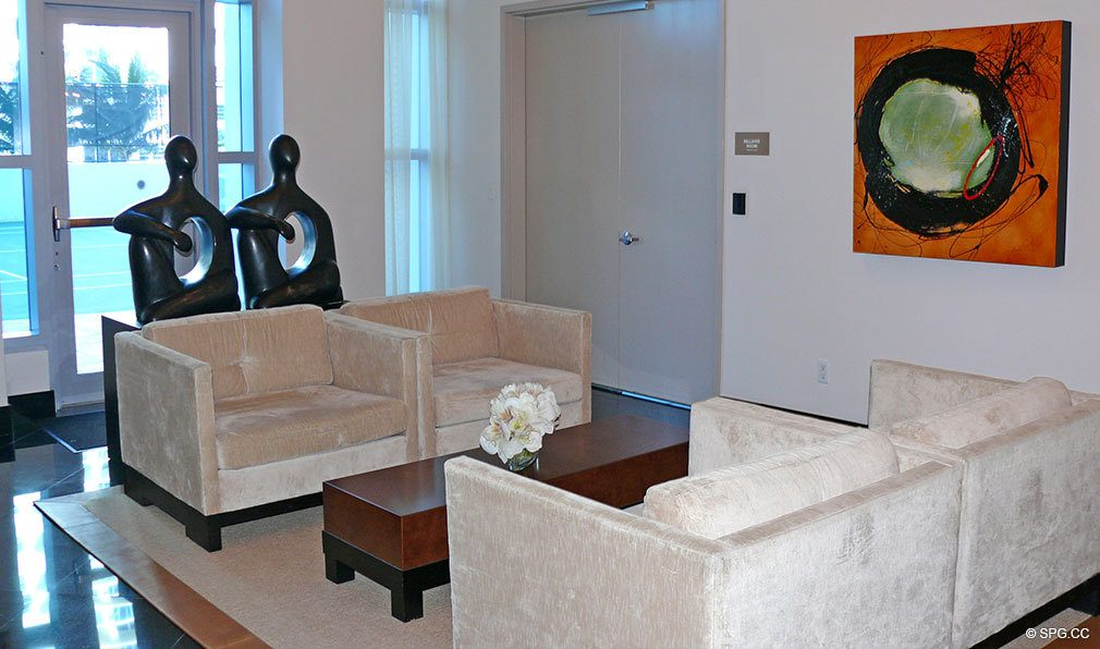 Ocean Palms Lobby, Luxury Oceanfront Condominiums Located at 3101 S Ocean Dr, Hollywood Beach, FL 33019