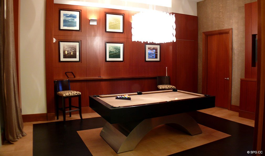 One Bal Harbour Billiard Room, Luxury Oceanfront Condominiums Located at 10295 Collins Ave, Bal Harbour, FL 33154