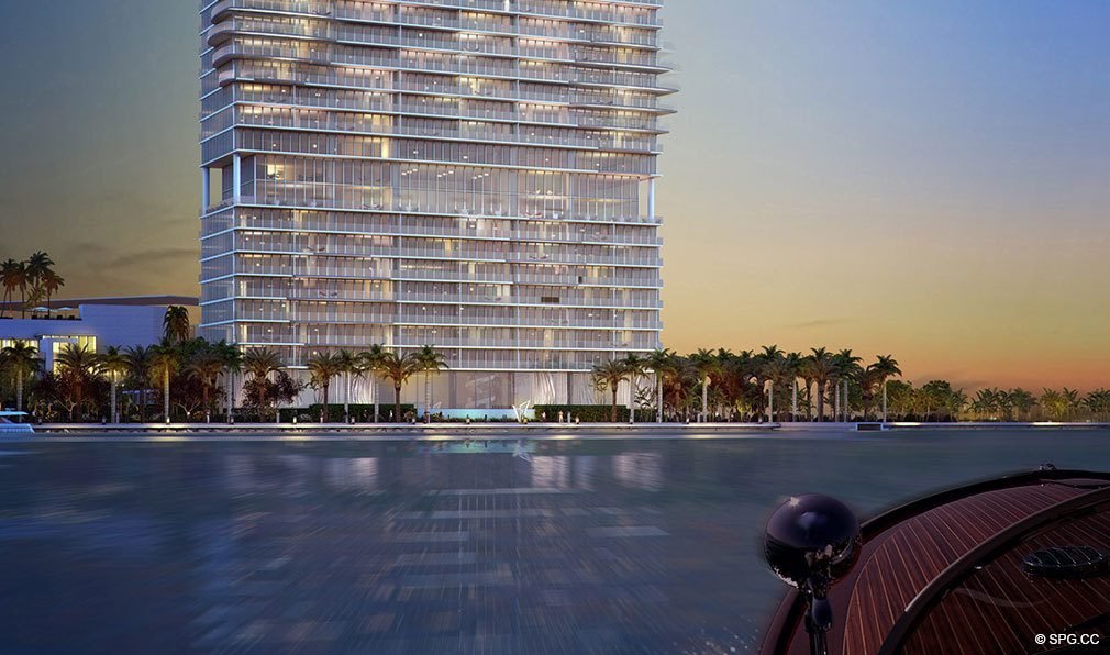 One Paraiso from the Water, Luxury Waterfront Condominiums Located at 701 NE 31st St, Miami, FL 33137