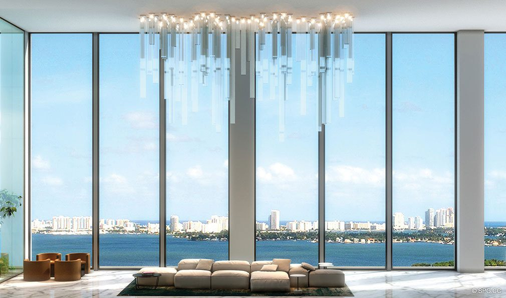 Living Room Views at One Paraiso, Luxury Waterfront Condominiums Located at 701 NE 31st St, Miami, FL 33137