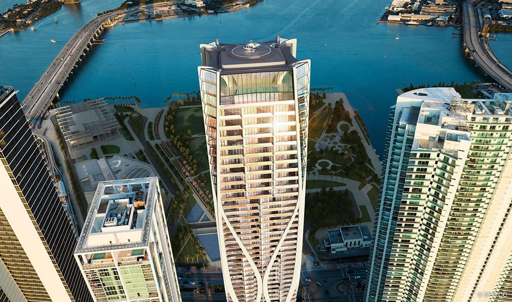 Rooftop Helipad at One Thousand Museum, Luxury Waterfront Condominiums Located at 1000 Biscayne Blvd, Miami, FL 33132