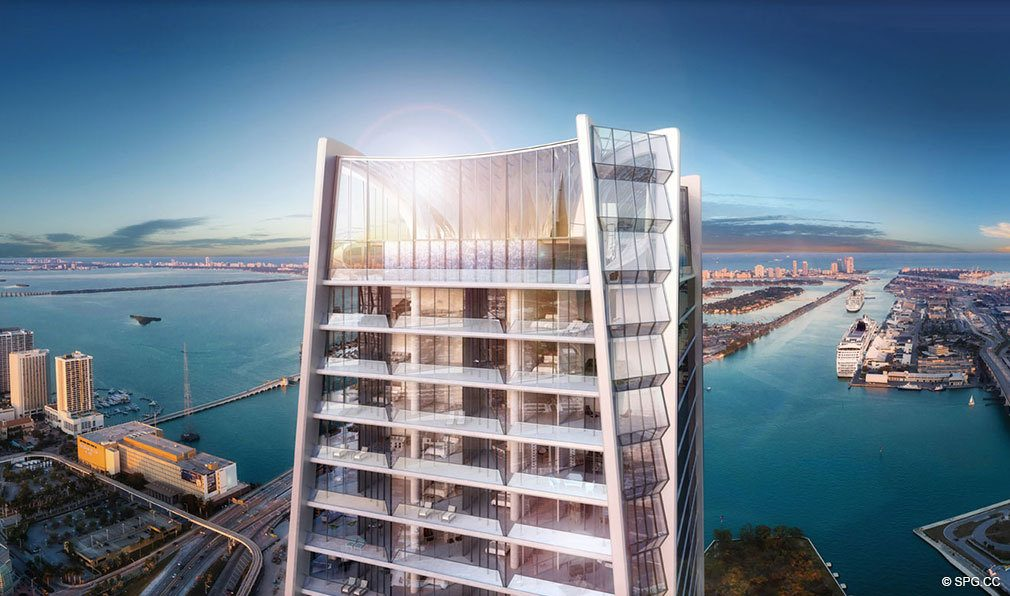 One Thousand Museum Sky Lounge, Luxury Waterfront Condominiums Located at 1000 Biscayne Blvd, Miami, FL 33132