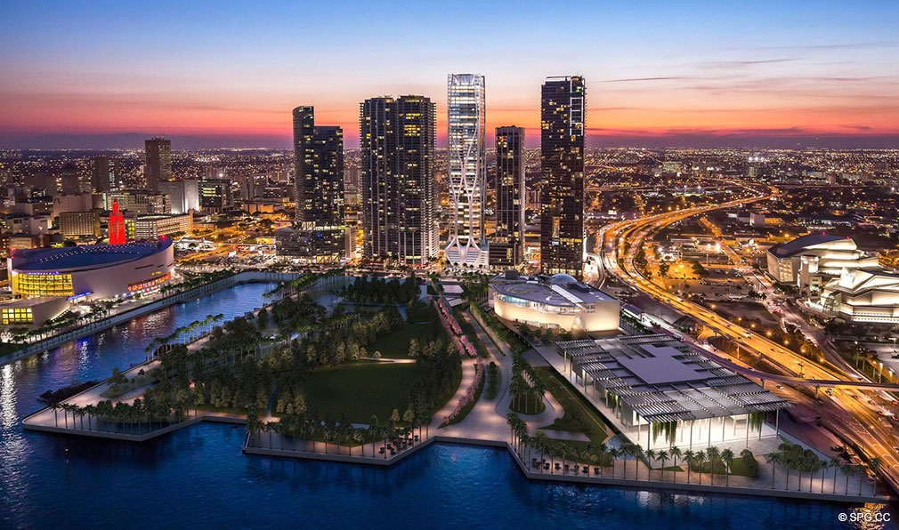 One Thousand Museum at Night, Luxury Waterfront Condominiums Located at 1000 Biscayne Blvd, Miami, FL 33132